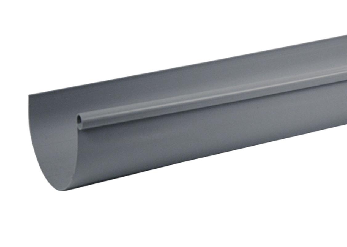 goutti re pvc gris demi ronde 25 4 m tres brico toiture. Black Bedroom Furniture Sets. Home Design Ideas