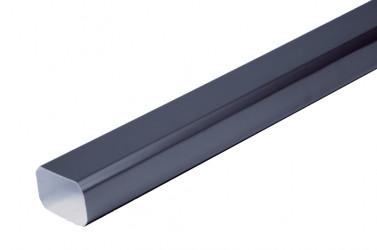 Tuyau de descente Rectangulaire aluminium LISSE Gris ardoise 60X80 - 2 mètres