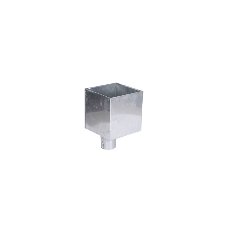 Boîte à eau zinc 200 X 200  sortie cylindrique D80