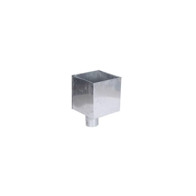 Boîte à eau zinc 300 X 300 sortie cylindrique D100